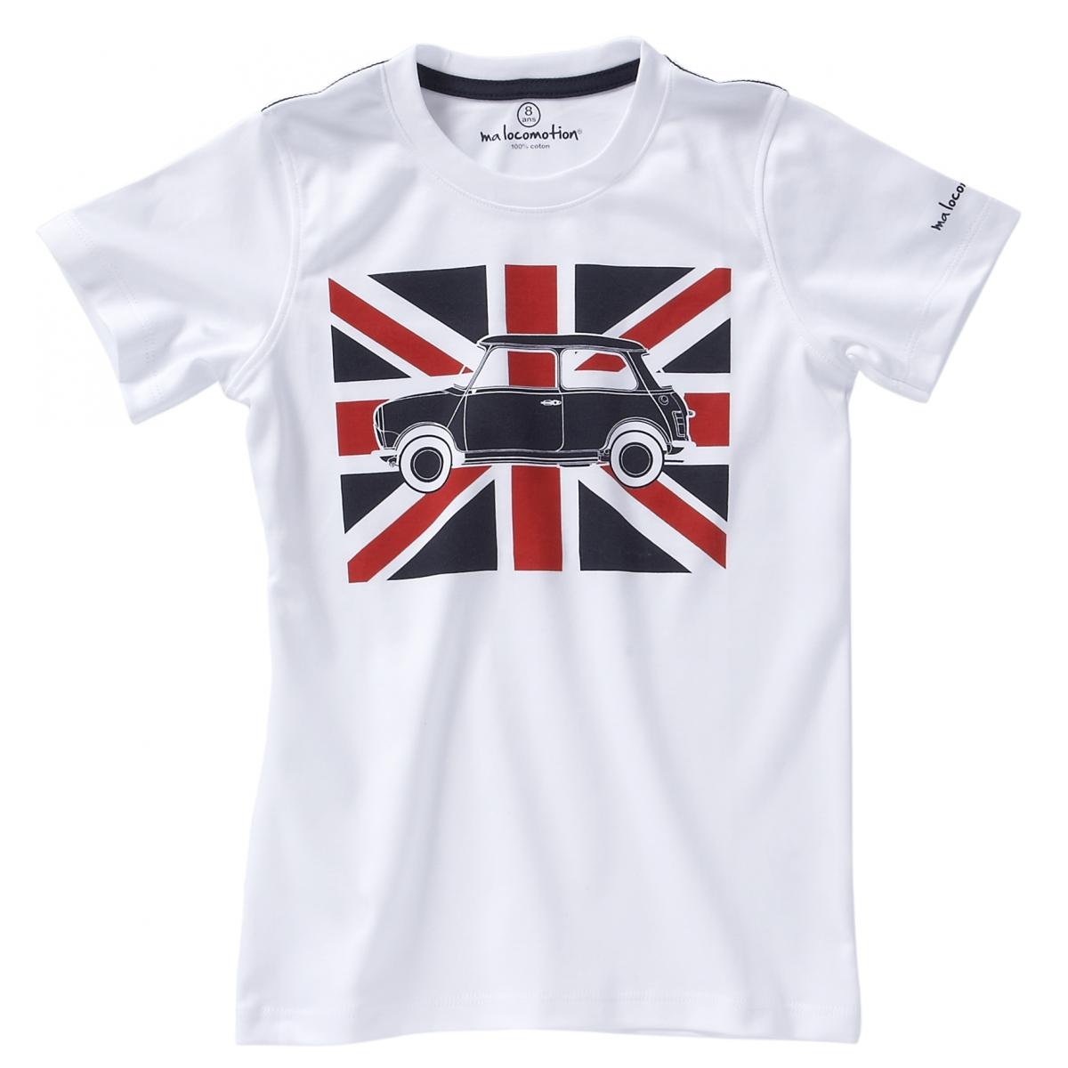 T-shirt Austin Mini drapeau anglais manches courtes - blanc