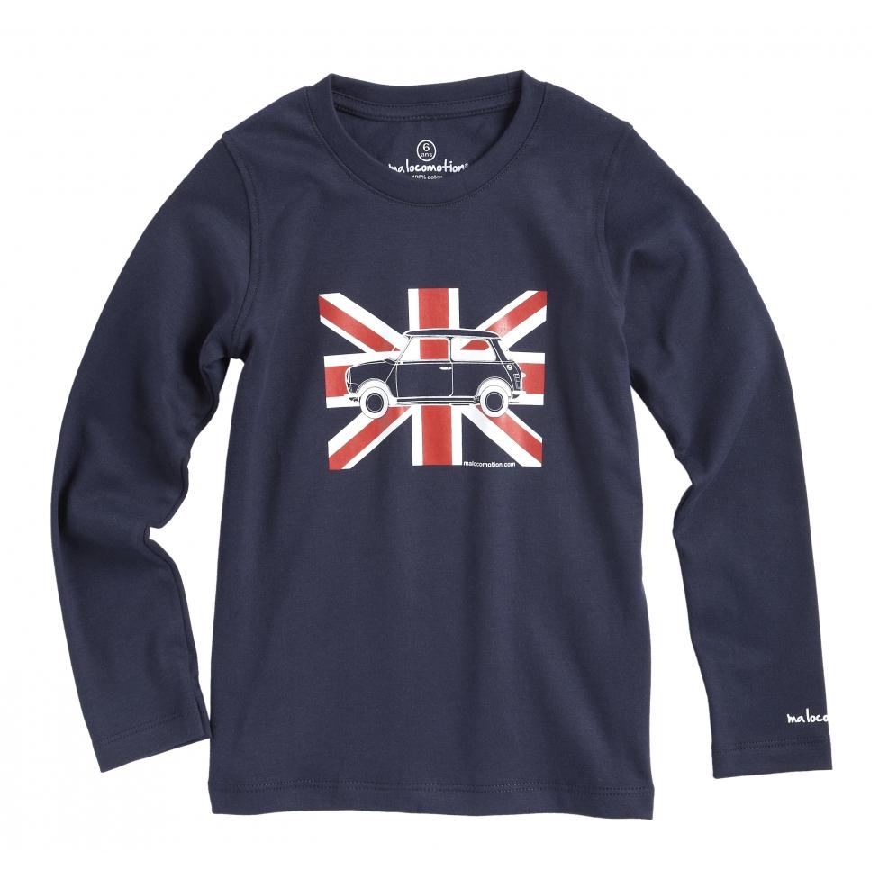 T-shirt Austin Mini Union Jack Marine pour enfants - manches longues