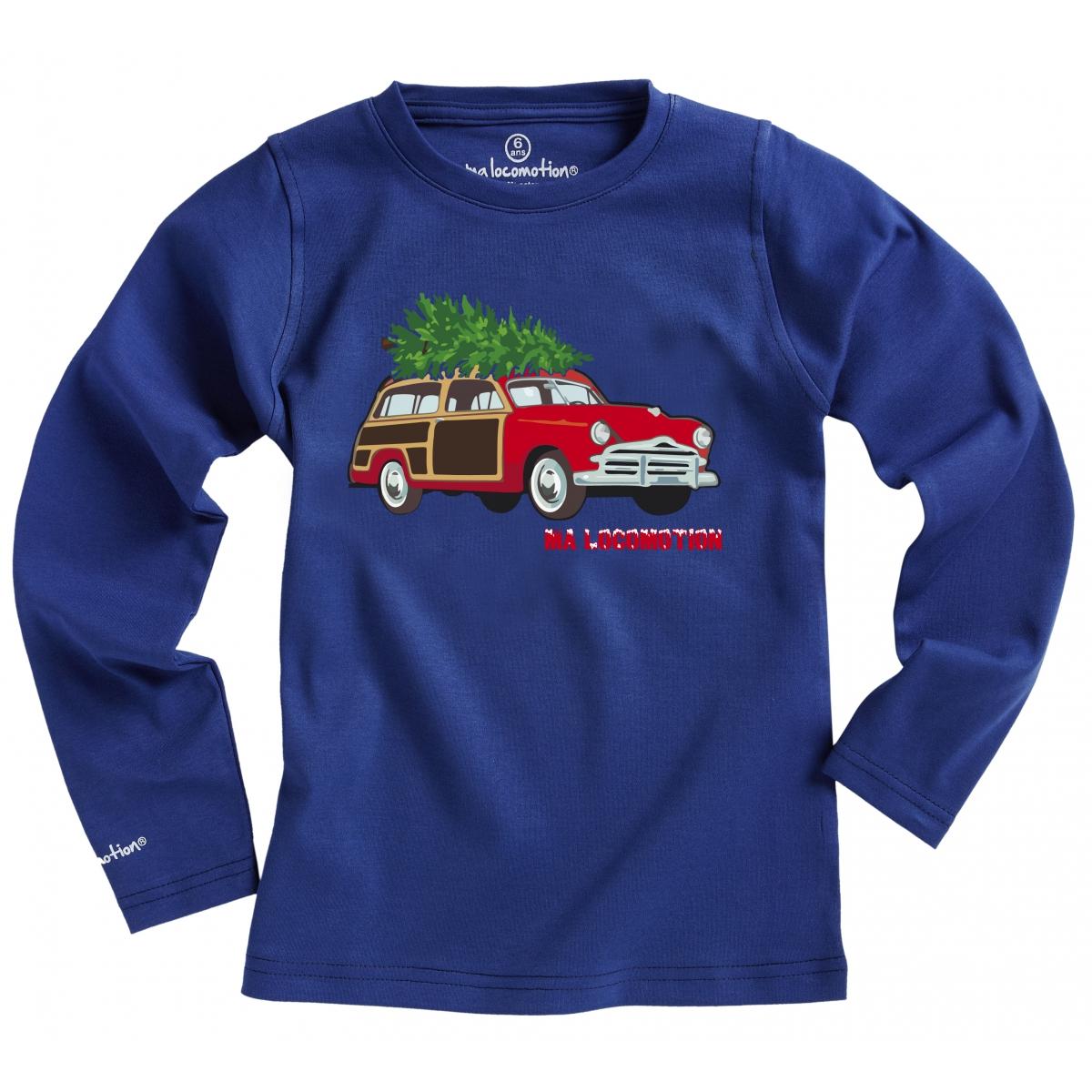 T-shirt voiture de Noël - bleu cobalt