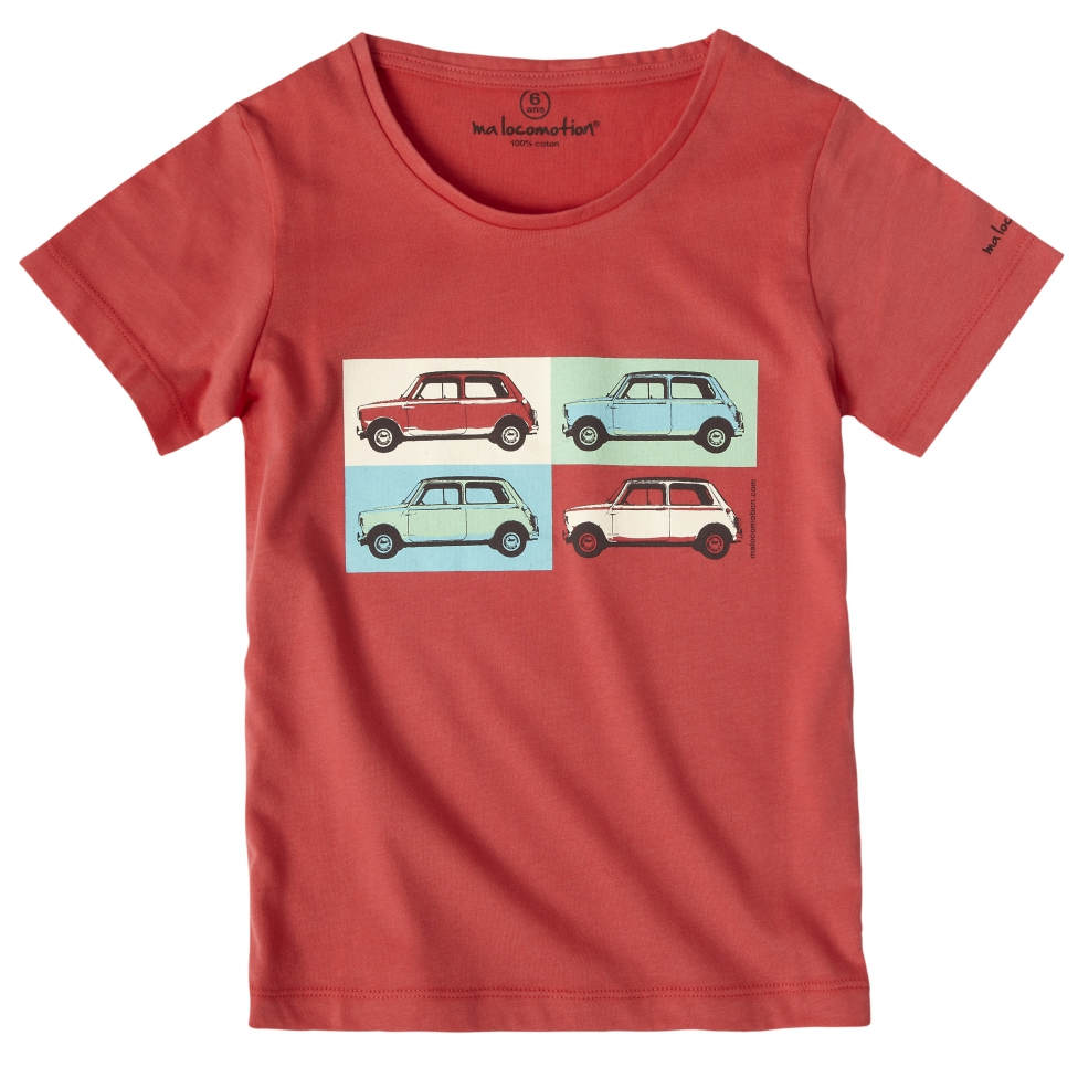 Austin Mini pop art t-shirt for kids - red