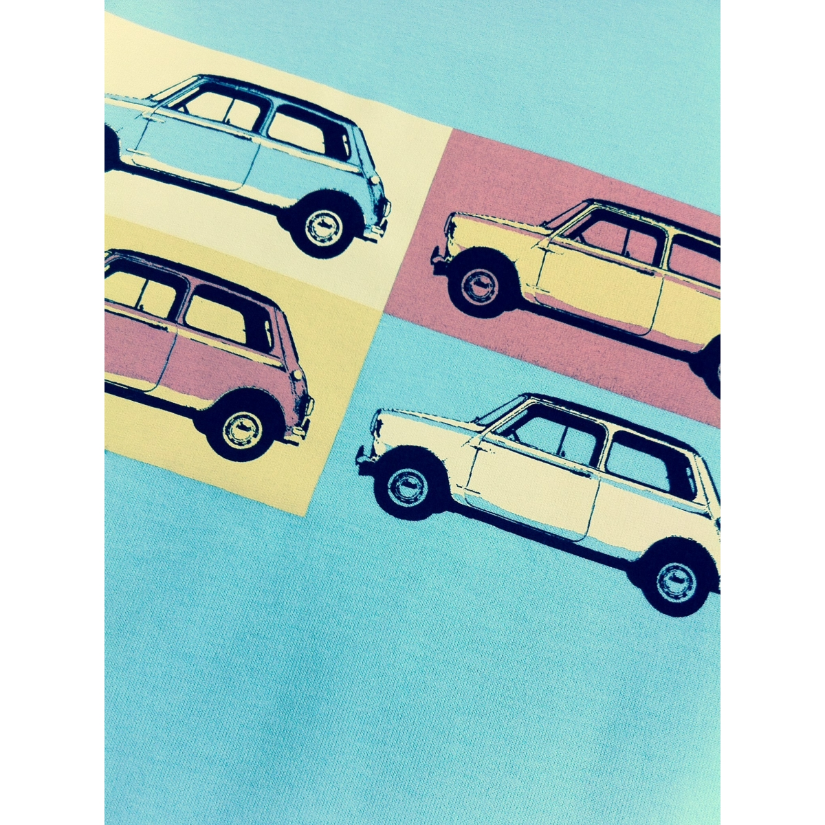 Austin Mini pop art t-shirt for kids - mint green