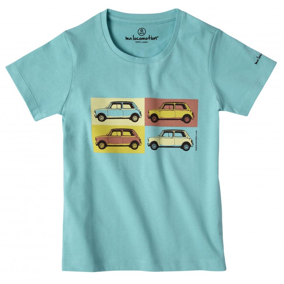 Austin Mini pop art t-shirt for kids - mint green