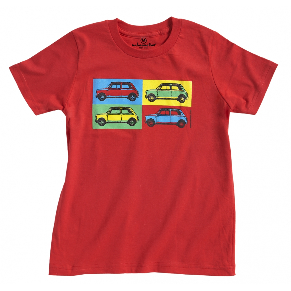 Austin Mini pop art t-shirt for adult - red