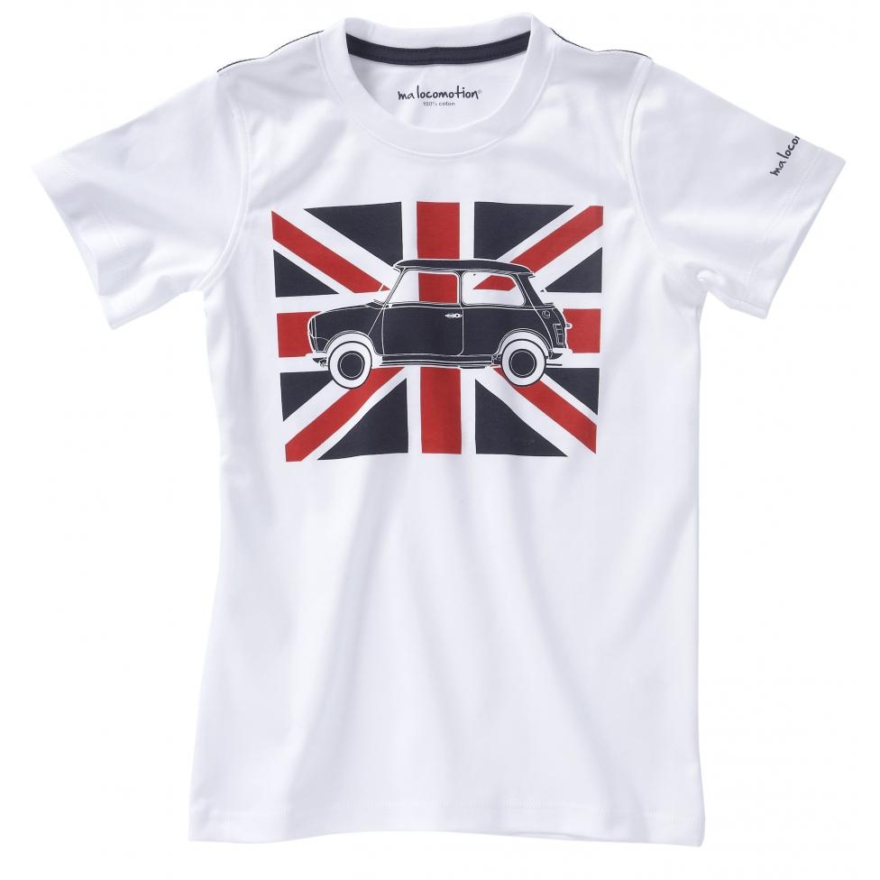 Short sleeves Austin Mini Union Jack t-shirts for adults - white