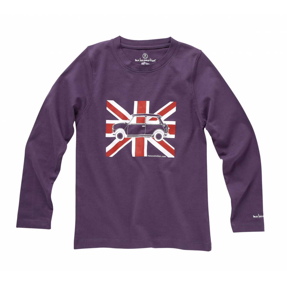 Long sleeves Austin Mini Union Jack purple t-shirt for kids