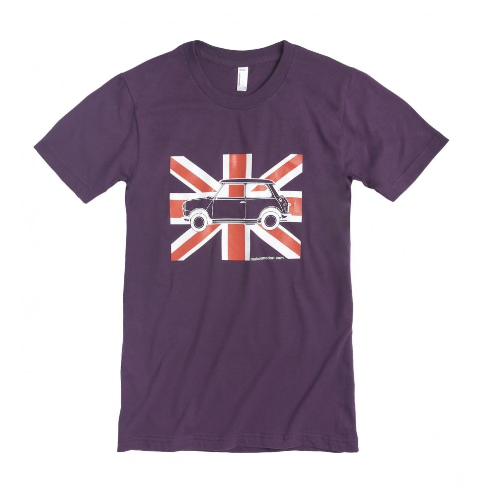 T-shirt Austin Mini drapeau anglais violet pour adultes