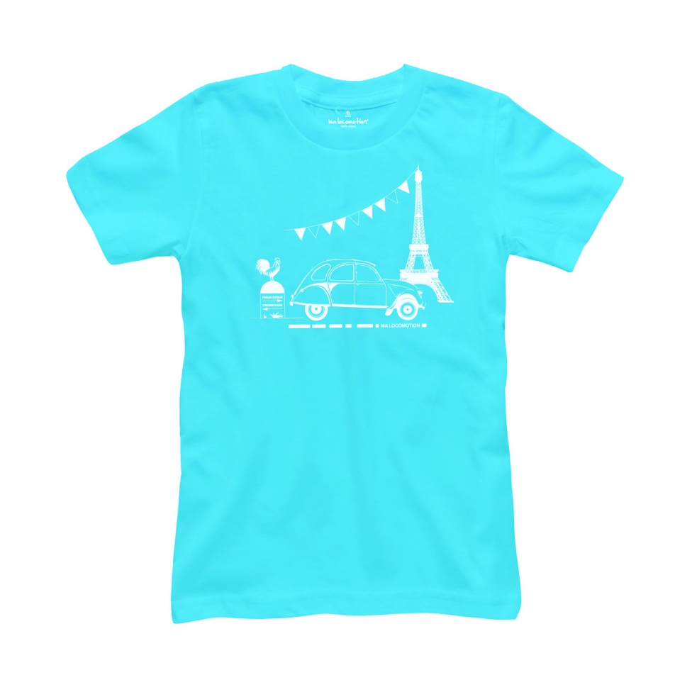 T-shirt 2CV Paris Tour Eiffel Neon