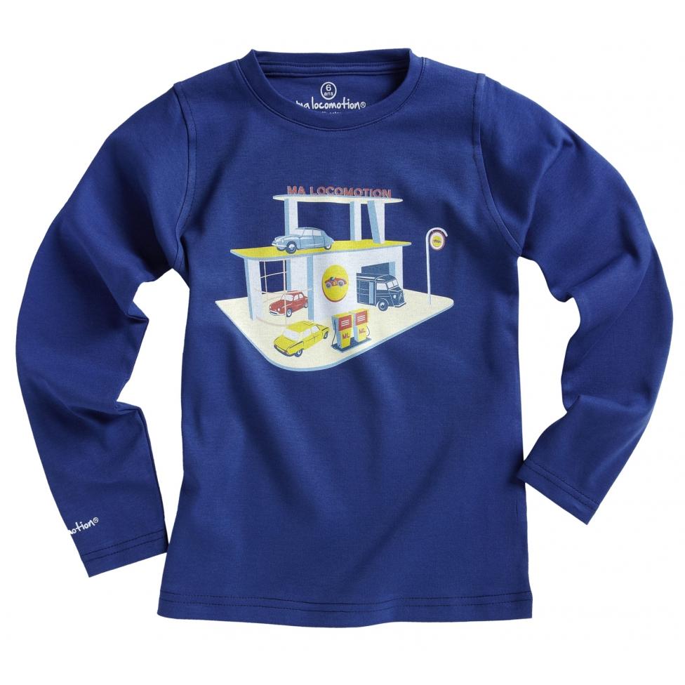 T-shirt garage rétro bleu