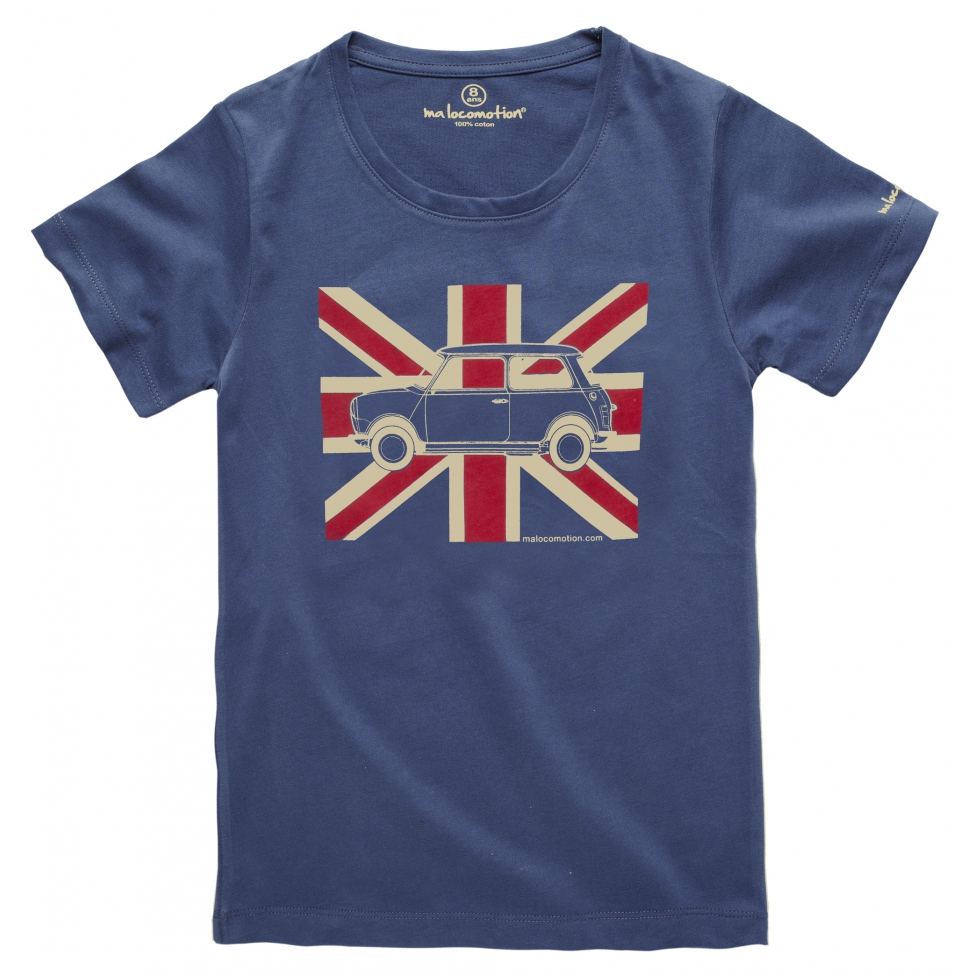 Austin Mini Union Jack t-shirt - blue grey