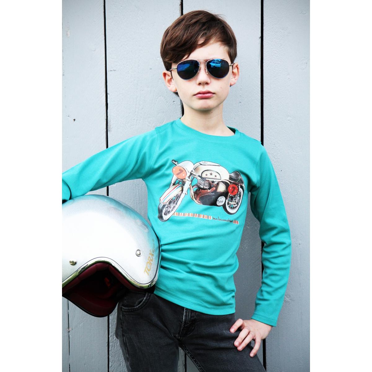 Vintage mototrcycle t-shirt - bleu green