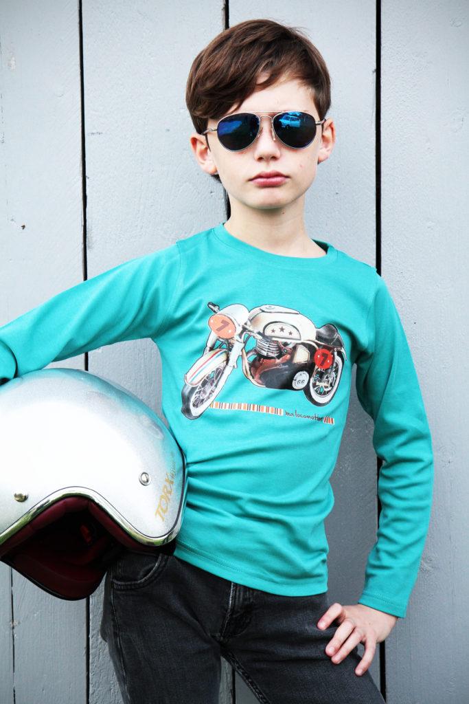 Tee shirt moto vintage vert céladon Ma Locomotion