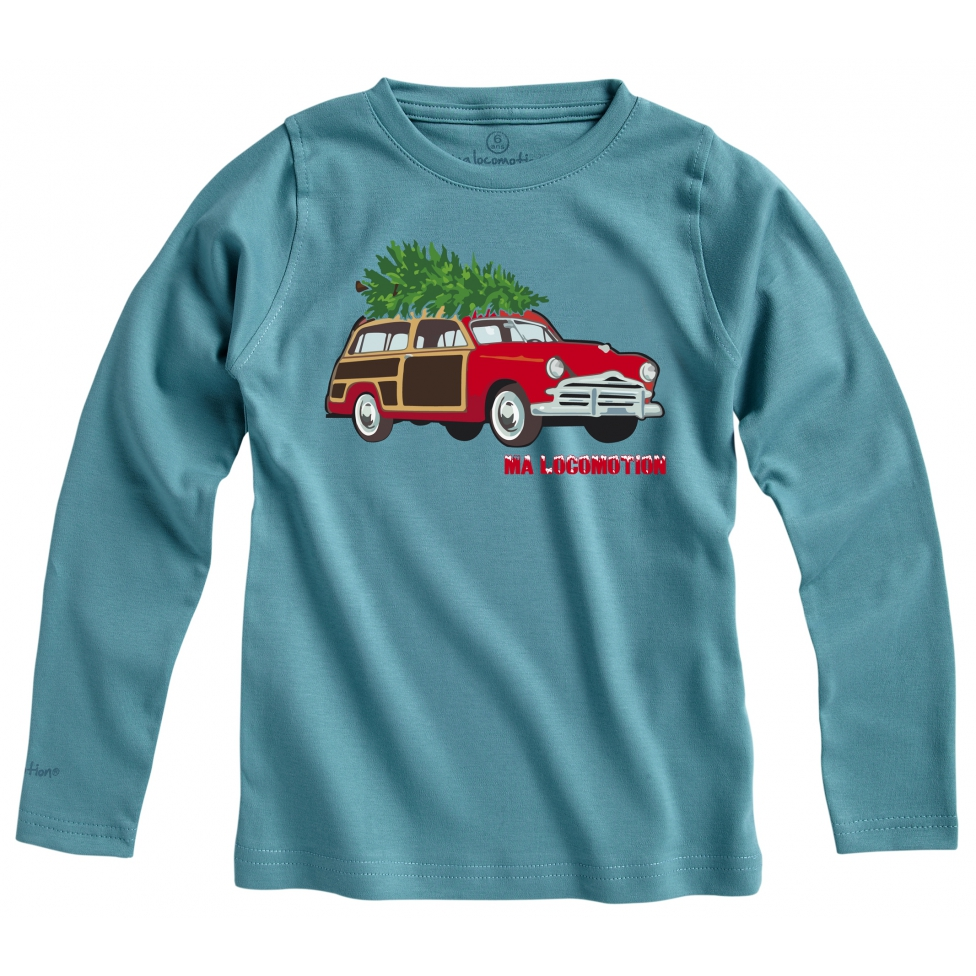 Vintage Christmas car - green blue