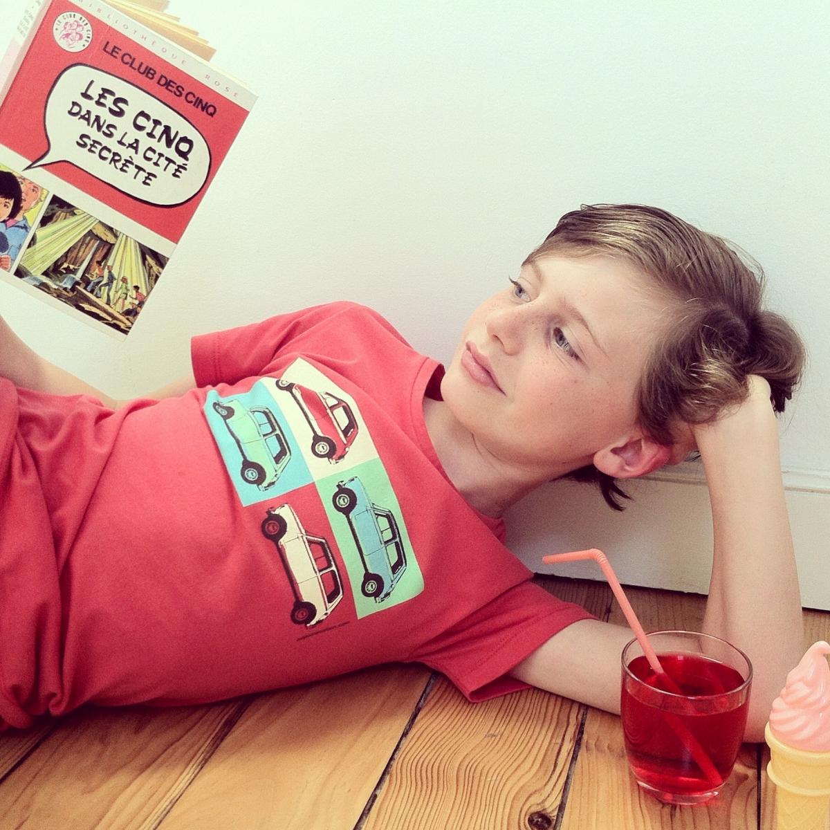 Austin Mini pop art t-shirt for kids - red