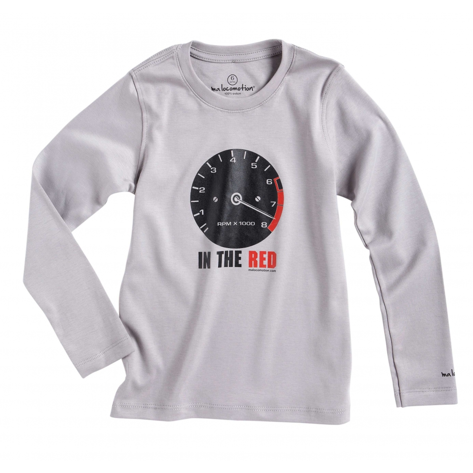 Long sleeves vintage rev-counter t-shirt for kids - pale grey