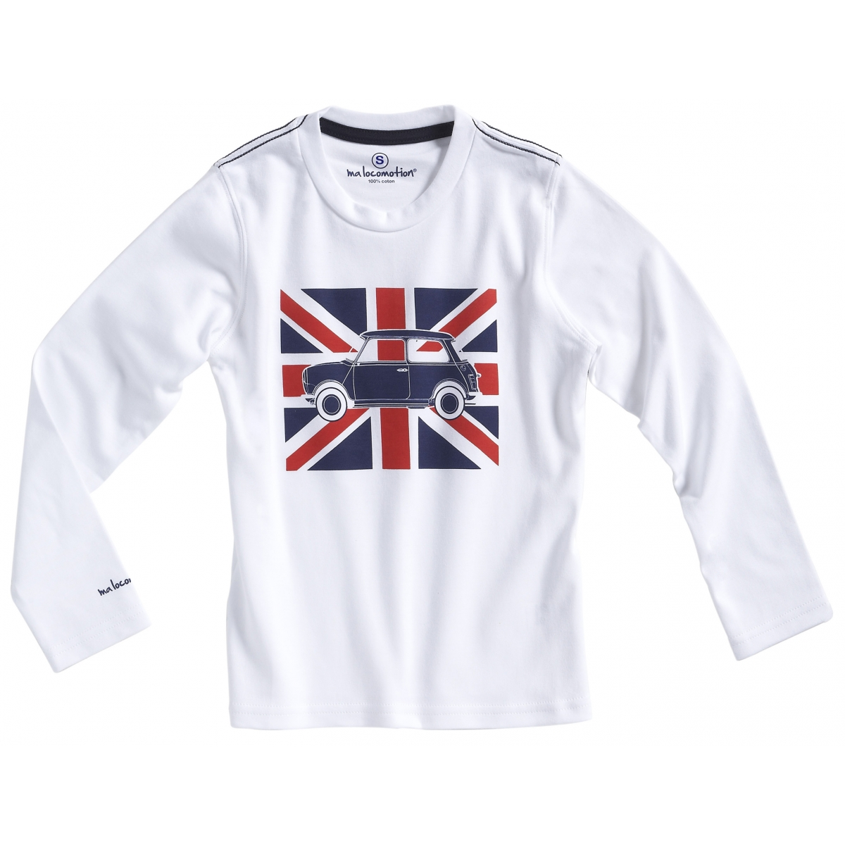 Long sleeves Austin Mini Union Jack t-shirt for adults - white