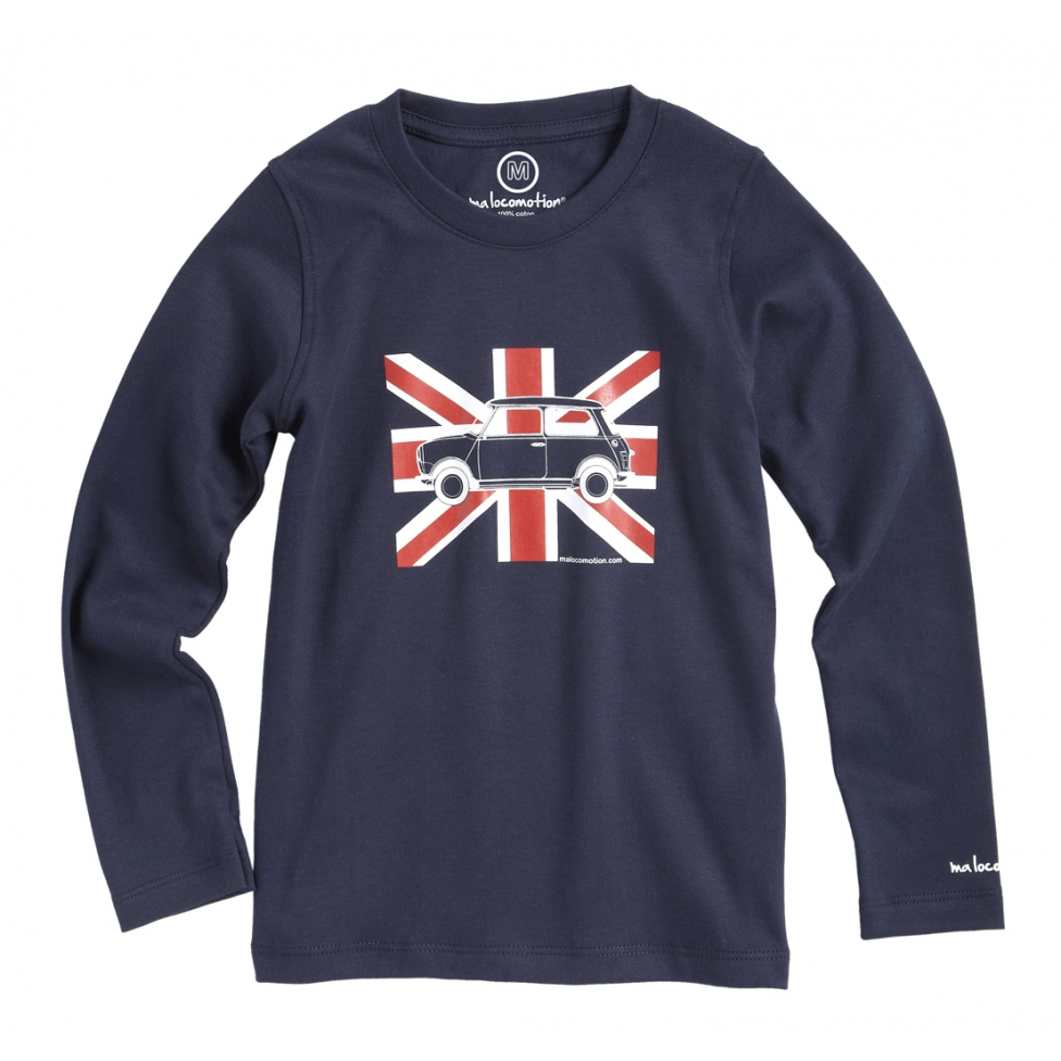 Long sleeves Austin Mini Union Jack t-shirt for adults - navy