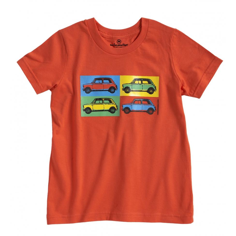 Austin Mini pop art t-shirt for adult - orange