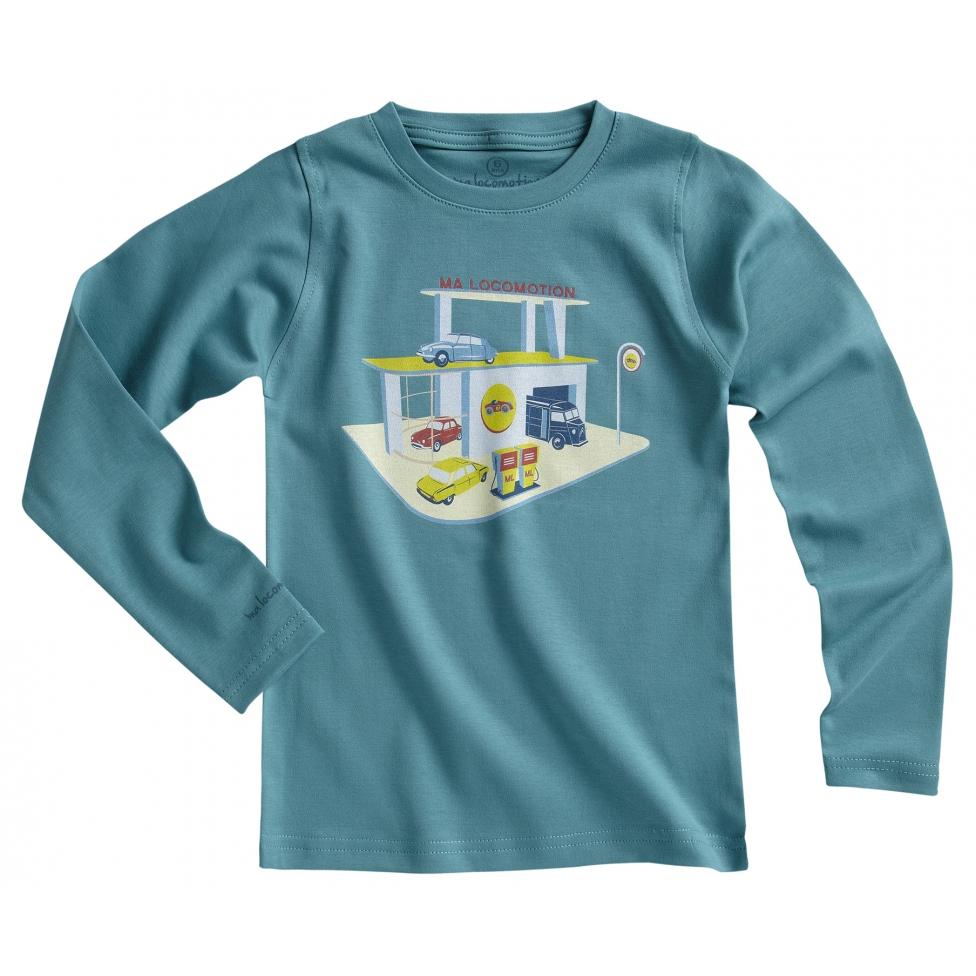 T-shirt garage rétro vert