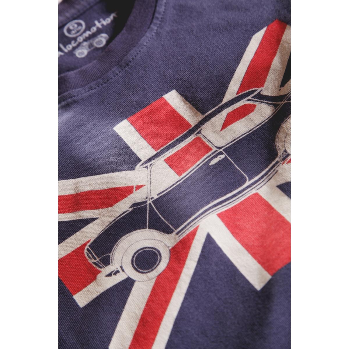 T-shirt Austin Mini drapeau anglais bleu grisé