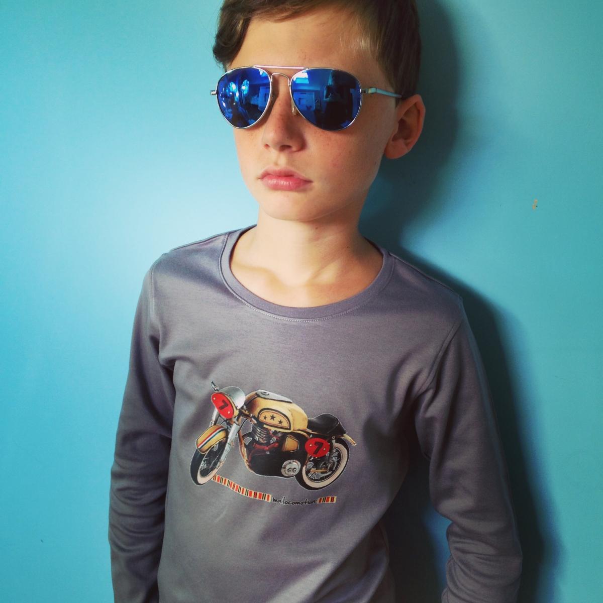 Vintage mototrcycle t-shirt - grey