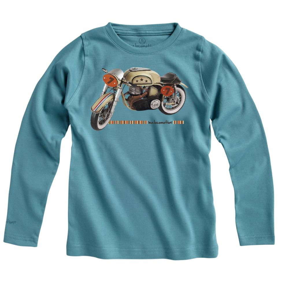 T-shirt moto vintage - bleu vert